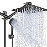 Shower Head Combo,10 Inch High Pressure Rain Shower Head with 11 Inch Adjustable Extension Arm and 5 Settings Handheld Shower Head Combo,Powerful Shower Spray Against Low Pressure Water - Matte Black