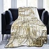 XXUU Manta de Forro Polar Art Deco Dorada, Manta Ligera, súper Suave y acogedora, Manta cálida para la Sala de Estar/Dormitorio, Toda la Temporada
