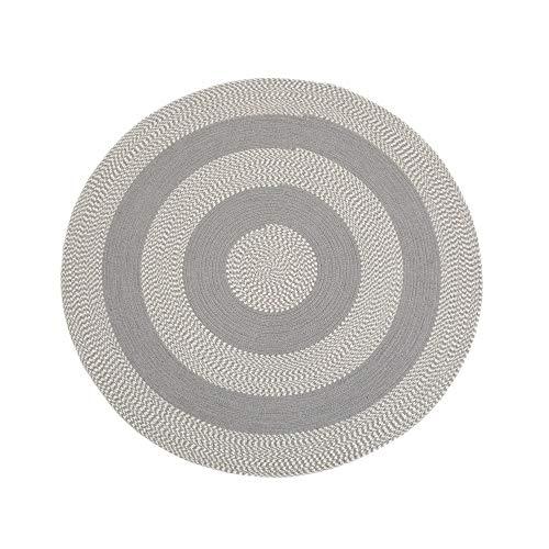 Alfombra rústica Redonda Hecha a Mano Gris de algodón y Polipropileno de 120x120 cm - LOLAhome