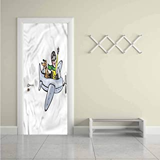 Boys Room,Door Sticker Wall Paper Air Doodle Style Flight DIY Art Home Decor Decoration W31xH79