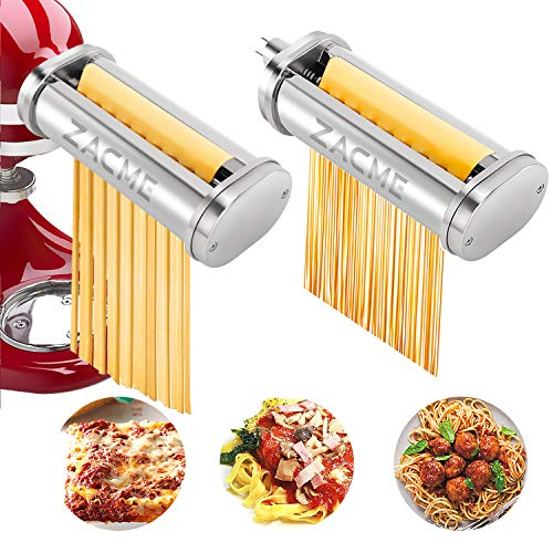 Pasta Maker Attachment ZACME Stainless Steel Pasta Cutter Attachments for KitchenAid Stand Mixers Including Durable Spaghetti Cutter Fettuccine Cutter and Cleaning Brush 2 Pack Silver