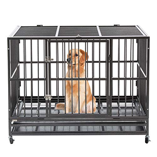 """Sliverylake 3XL 48"""" Heavy Duty Metal Dog Crate Cage Pet Kennel Playpen Exercise w/ Wheels Tray US"""