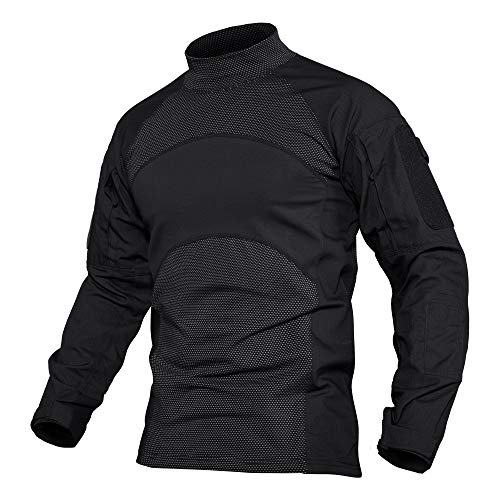 MAGCOMSEN Herren Langarmshirt Military Uniform Running Trainingsshirt Männer Outdoor Hemd Atmungsaktiv Wandern Trekking Shirt Bundeswehr Kleidung mit Taschen Schwarz M