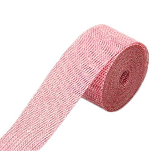 WopenJucy - Rollo de cinta de lino navideño, 10 m de imitación de arpillera, color puro, material para manualidades, para bricolaje, boda, fiesta, decoración de Navidad, rollos de cinta, Rosa, 10m*5cm