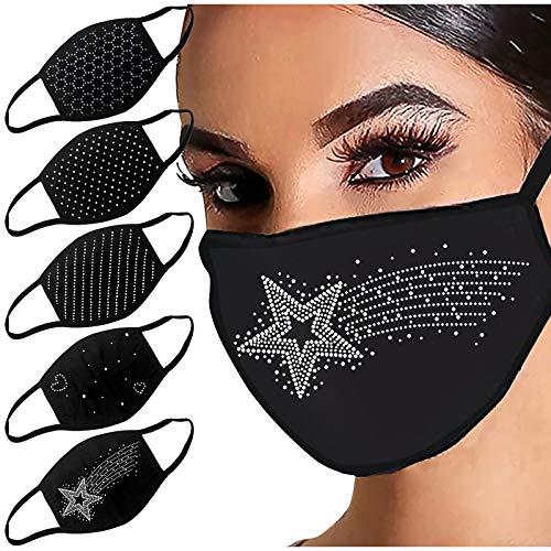 DOLLAYOU 5 Stück Glänzend Strass Mund-Nasen-Schutz, Damen Waschbar Mundschutz mit Motiv Baumwolle Glitzer Wiederverwendbar Atmungsaktiv Mund und Nasenschutz Stoff, I