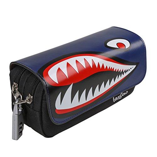 YIMOJI, astuccio con squalo, multistrato, grande capacità, con zip, adatto per cancelleria, scuola, con lucchetto, per bambini e bambine Navy blue