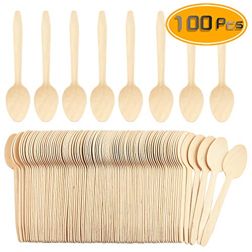 WFPLUS 100 Pcs Disposable Wooden Spoons Natural Bamboo Sppons Biodegradable Disposable Sppons(6.5')