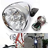 Fat-Cat Vintage Retro Bicycle Bike Front Light Lamp 7 LED Fixie Headlight with Bracket (Silver)