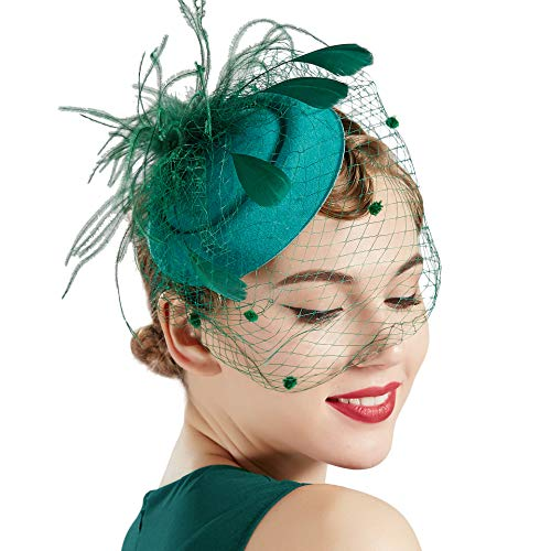 Coucoland Feder Fascinators Hut Damen Blumen Mesh Elegant Hochzeit Fascinator Haarreif Cocktail Tee Party Accessoires (Dunkelgrün)