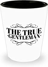 The True Gentleman Shot Glass Sae Birthday Gift Idea Ceramic White 1.5 ounces