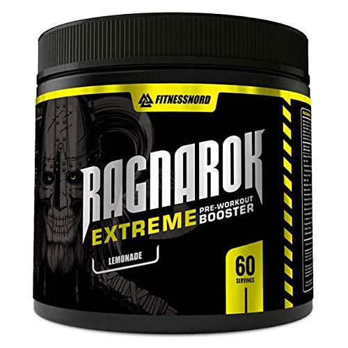 Fitnessnord Ragnarok Extreme Pre-Workout - Booster - 60 Portionen (390g) - Bodybuilding - Fitness - Mit Beta Alanin, Koffein, Kreatin Monohydrat und Arginin - Limonade