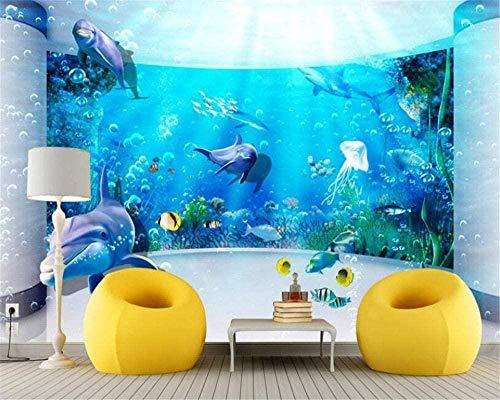 Fveng Custom Fototapete 3D Wallpaper Wandbilder 3D Unterwasserwelt Aquarium Delphin Wandmalerei Wohnzimmer Arbeitszimmer Hintergrund Dekor-200cmx140cm