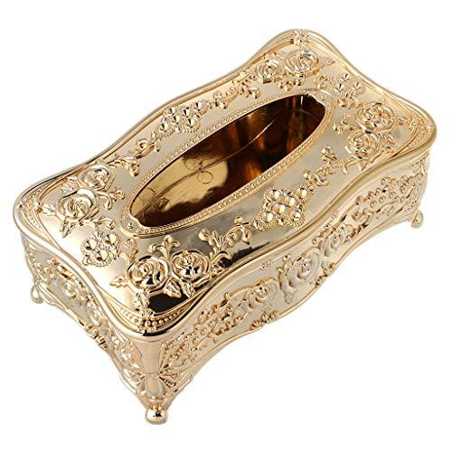 Yangfr quadratischer Taschentuchhalter, luxuriöser europäischer Stil, Acryl, KTV, Taschentücher, Toilettenpapierhalter gold