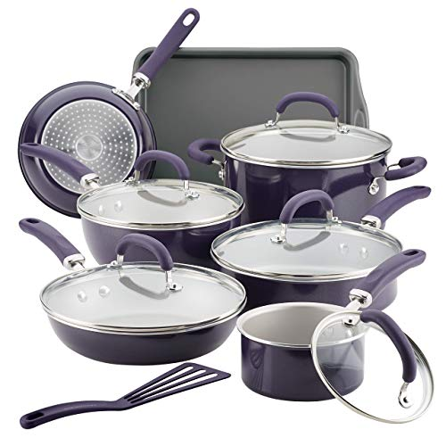 Rachael Ray Create Delicious Nonstick Cookware Pots and Pans Set, 13 Piece, Purple Shimmer