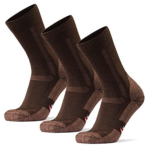 Calcetines de Senderismo y Trekking de Lana Merina para Hombre, Mujer y Niños, Pack de 3 (Marrón, EU 43-47)