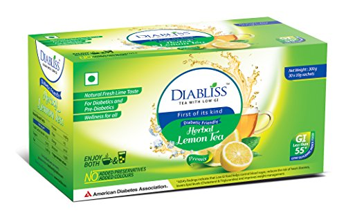 DiaBliss Herbal Diabetic Friendly Herbal Lemon Tea – Low GI – 30 x 10 Grams Sachet Box