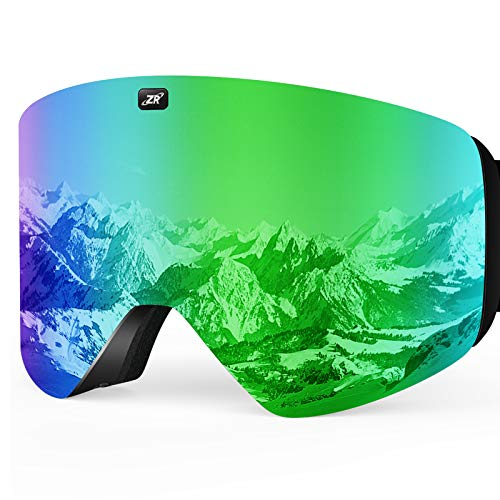 ZIONOR X11 Ski Snowboard Snow Goggles with Magnetic Interchangeable Cylindrical Lens Anti-fog UV Protection for Men Women Adult (VLT 17% Green Lens)