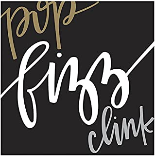 Graphique Pop Clink Fizz Party Napkins — 20 Soft Triple-Ply Tissue Napkins With Cursive
