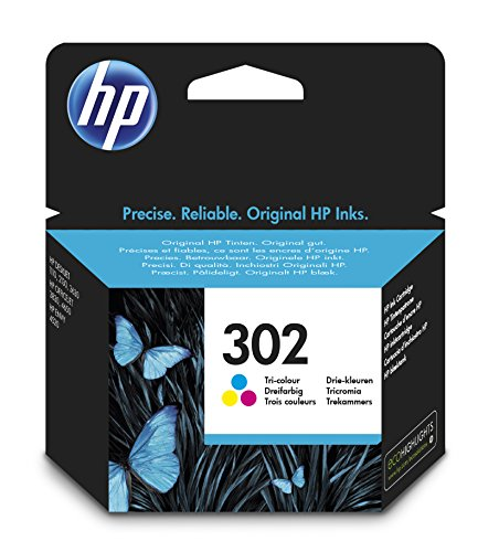 HP 302 (F6U65AE) Cartuccia Originale per Stampanti HP a Getto di Inchiostro, Compatibile con HP DeskJet 1110; 2130 e 3630; HP OfficeJet 3830 e 4650; HP ENVY 4520, Tricromia (Cyan/Magenta/Giallo)