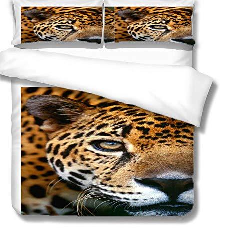 Funda de edredón 3D Leopardo Animal Impreso Juego de Cama 3 Piezas Poliéster Microfibra Fundas de Edredón 135 x 200 cm con 2 Fundas de Almohada 50x75cm para niños