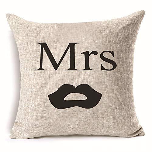 Yilooom Funda de almohada de 40,6 x 40,6 cm, diseño de amor Mr Mrs, algodón y lino, para regalo, decoración del hogar, decoración de boda, funda de almohada decorativa #305
