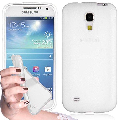 Cadorabo Hülle kompatibel mit Samsung Galaxy S4 Mini Hülle in HALB TRANSPARENT Handyhülle aus flexiblem TPU Silikon im X-Line Silikon Schutzhülle