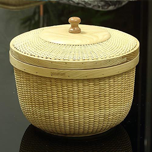 Cesta de almacenamiento con tapas, cesta de frutas, cesta de almacenamiento para escritorio, cesta de almacenamiento de ratán tejido, redonda, madera maciza de TengTian