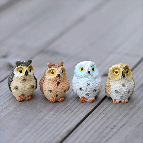 Danmu 4pcs Resin Mini Owls, Miniature Figurines, Fairy Garden Accessories, Fairy Garden Supplies, Fairy Garden Animals for Fairy Garden, Micro Landscape, Plant Pots, Bonsai Craft Decor