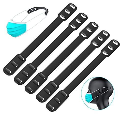 5PCS Mask Extender, Maskenhaken Anti-Tightening Ear Protector Dekompressionshalter Haken Ohrriemen Zubehör Ohrverlängerungsmaske Schnalle Ohrenschmerzen gelindert (schwarz)