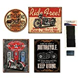 Motorcycle Tin Sign Bundle - Mother Road Motorcycle Repair, Ride Free, Last Stop Full Service Gasoline, Life is Like Motorcycle, 20 Sets of Hook-and-Loop Adhesive Tape and 1 Micro Fiber Cleaning Cloth