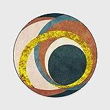 WIVION Runder Teppich Moderner Nordischer Geometrischer Teppich Grüne Kumquat Abstrakte Kreis Design Bodenmatte Wohnzimmer Schlafzimmer Couchtisch Teppich Dekoration,40CM
