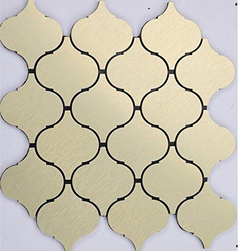 Stile classico Lanterna Mosaico autoadesivo alluminio Mosaico peel&stick Colore facoltativo 300*300mm--Cucina Backsplash/Parete da bagno/decorazione domestica(Q51) (22 tappetini(2m²), Q03)