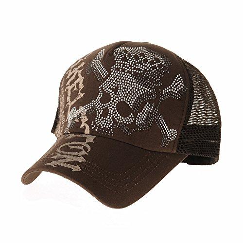 WITHMOONS Meshed Baseball Cap Skull Rhinestones Trucker Hat KR1751 (Brown)