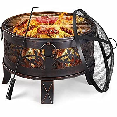 costoffs Fire Pit Bowl with Cooking Grill & Mesh Lid & Poker Outdoor Bronze Iron Garden Patio Heater/Burner for Heating BBQ Picnic Dia:66.5cm by costoffs
