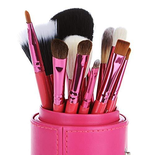 12 Pcs Pinceaux De Maquillage Avec Étui Pour Fondation Eyeliner Blush Poudre Correcteur Contour Ombre À Paupières Sourcil Brosse à maquillage XXYHYQ (Color : Rouge, Size : Libre)