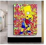 DNJKSA Bart Simpson Leinwand Gemälde Gelb Niedlich Druck