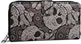 styleBREAKER Billetera de Mujer con Estampado de Cachemira, Cremallera y Broche de presión, Cartera 02040135, Color:Negro-Blanco