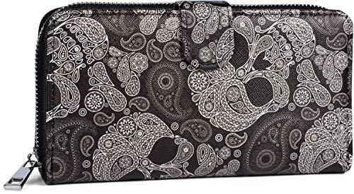 styleBREAKER Damen Geldbörse mit Totenkopf Paisley Print, Reißverschluss und Druckknopf, Portemonnaie 02040135, Farbe:Schwarz-Weiß