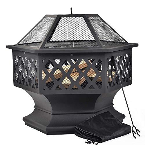 Merax Feuerstelle mit Grillrost, Feuerschale mit Funkenschutz Fire Pit für BBQ, Heizung, Garten Terrasse Metall Feuerkorb 3 in 1 Feuerstelle im Freien (Hexagonal Feuerstelle)