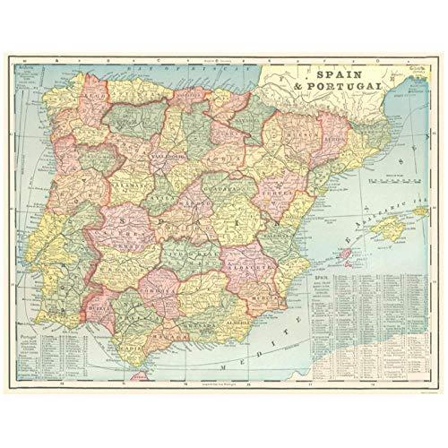 Mapa de la antigua Península Ibérica España y Portugal Etiqueta de la pared de lona antigua Imprimir póster National Geographic Home Decor Picture (60X77Cm Sin marco)
