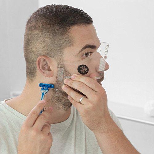 Plantilla guia para el afeitado diario hombres.Barba perfecta y en linega gracias al molde.Incluye peines.Talla única.Fácil y sencillo razor recortador para otener forma simetrica.Estilismo facil