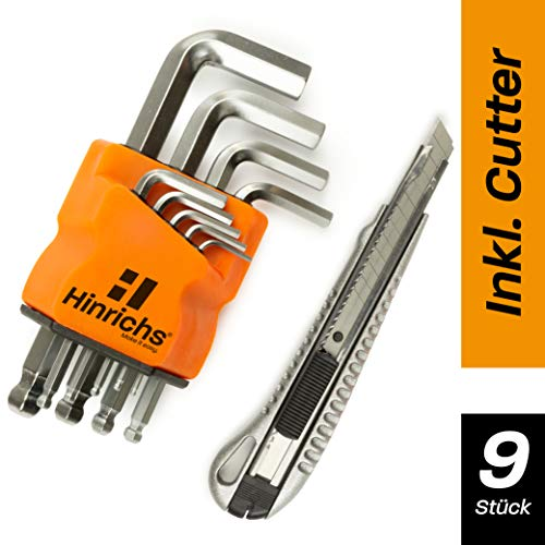 Hinrichs Innensechskant Satz Metrisch 9 teilig - Innensechskantschlüssel Set klein mit Kugelkopf - 0,7 bis 10 mm - Universalmesser gratis