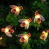 Kansas Cadena de luces solares con diseño de abejas, 50 ledes, 7 m, 8 modos, impermeable, para jardín, árboles, Navidad, fiestas (blanco cálido)