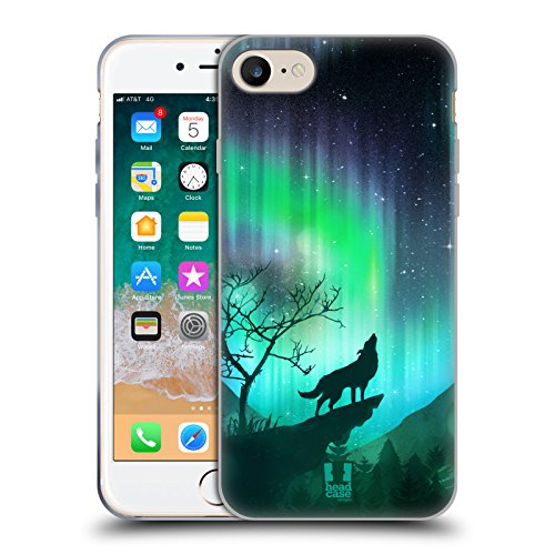 Head Case Designs Howling Wolf Northern Lights Soft Gel Case Compatible with Apple iPhone 7 / iPhone 8 / iPhone SE 2020