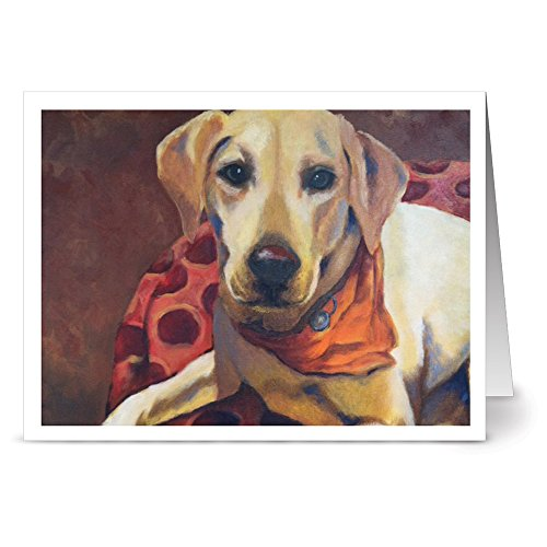 All Occasion Greeting Cards – 24 Pack - Unique Loving Yellow Lab Design – KRAFT ENVELOPES INCLUDED – Blank Greeting Card – Glossy Cover Blank Inside – By Note Card Café