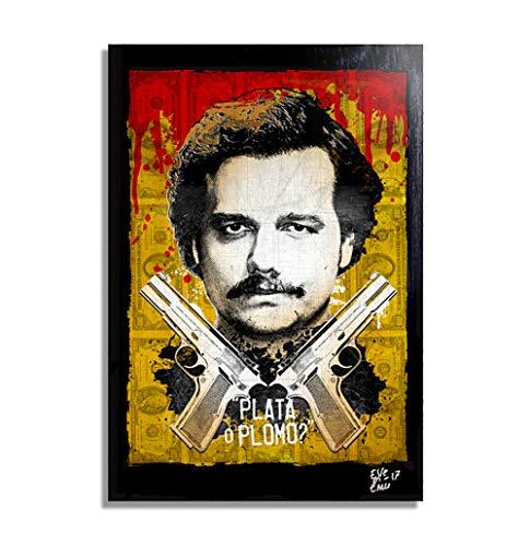 Pablo Escobar aus Fernsehserie Narcos - Original Gerahmt Fine Art Malerei, Pop-Art, Poster, Leinwand, Artwork, Film Plakat, Leinwanddruck