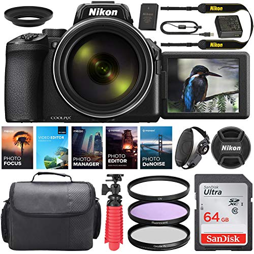 Nikon COOLPIX P950 Digital Camera || 24-2000mmLens || 16 MP || Built-in Wi-Fi || Vibration Reduction + Camera Kit Special Including 64GB Memory, Spider Tripod, Photo/Video Editing Package & More