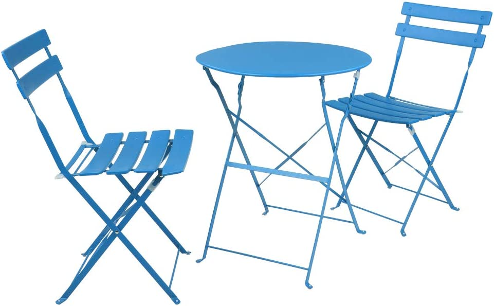 gift WADRUXIS Iron Patio Translated Bistro Set Folding Pieces 3 Furniture