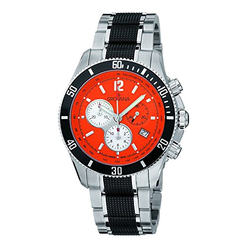 Grovana 1615.9179Hombres de cuarzo swiss reloj con cronógrafo para hombre (mecanismo de cuarzo, esfera en naranja