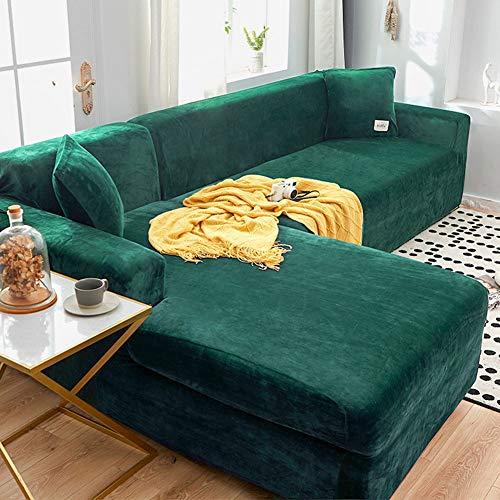 Sofabezug, Velvet Plüsch Schonbezug Sofa, Stretch Sofa Überwurf Sofabezug Weich Dick Sofahusse Für L-Form Schnittcouch,1 2 3 4 Sitzer (Grün,L Type 2+3Seater)